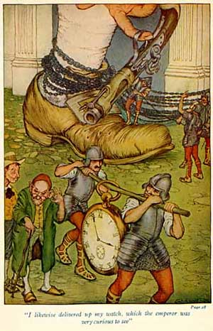 Lilliputians search Gulliver