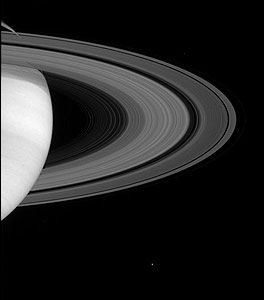 Saturn: rings and moons by  NASA/JPL/Space Science Institute